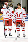 Ross Gaudet (BU - 22), Sahir Gill (BU - 28) - The Boston University Terriers honored their four seniors following their final game of the regular season on Saturday, March 5, 2011, at Agganis Arena in Boston, Massachusetts.