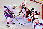 15 November 2008:  Philadelphia Flyers' goaltender Martin Biron makes a save against Montreal Canadiens' left wing forward Alex Tanguay (13) in the second period at the Bell Centre in Montreal, Quebec, Canada.  The Canadiens, celebrating their 100th season, fell to the visiting Flyers 2-1. ***Editorial Sales Only***..Mandatory Photo Credit: Ed Wolfstein Photo *** Editorial Sales through Icon Sports Media *** www.iconsportsmedia.com