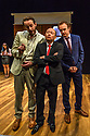 """""""CHINGLISH, by David Henry Hwang, opens at the Park Theatre. Directed by Andrew Keates, with lighting design by Christopher Nairne and set and costume design by Tim McQuillen-Wright. Picture shows: Siu-See Hung (Qian), Duncan Hart (Peter Timms), Lobo Chan (Cai Guoliang), Gyuri Sarossy (Daniel),"""