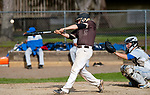 WINSTED,  CT-051217JS07- Thomaston's Jake Torrence (15) gets an RBI on a sacrifice fly during their game against Gilbert Friday at Walker Field in Winsted. <br />   Jim Shannon Republican-American