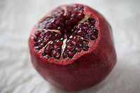 Close up of Pomegrate with Seeds Exposed