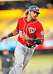 23 July 2011: Washington Nationals infielder Michael Morse in action against the Los Angeles Dodgers at Dodger Stadium in Los Angeles, California. The Dodgers rallied to defeat the Nationals 7-6 on a Rafael Furcal walk-off, RBI double in the bottom of the 9th inning. Mandatory Credit: Ed Wolfstein Photo