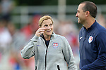 20 August 2014: U.S. head coach Jill Ellis (left) with assistant coach Damon Nahas. The United States Women's National Team played the Switzerland Women's National Team at WakeMed Stadium in Cary, North Carolina in an women's international friendly soccer game. The United States won the match 4-1.