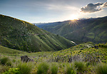 Idaho, Western, Cambridge, The Idaho side of Hells Canyon, looking into Oregon at sunset in psring.