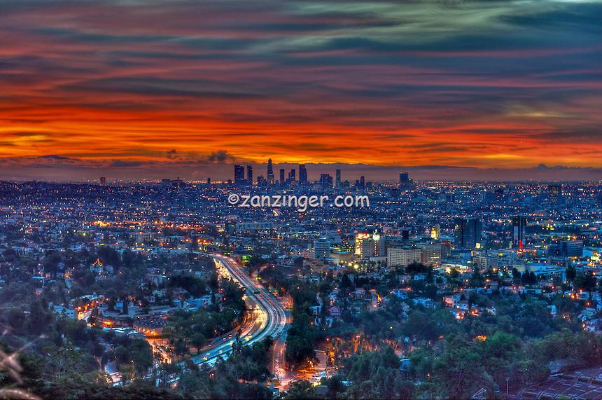 Los Angeles, CA, Skyline, Fiery, Sunrise, Sunset, Traffic Streaking on Freeway, HDR High dynamic range imaging (HDRI or HDR)