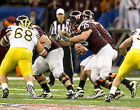 Greg Nosal of Virginia Tech in action during Sugar Bowl game against Michigan at Mercedes-Benz SuperDome in New Orleans, Louisiana on January 3rd, 2012.  Michigan defeated Virginia Tech, 23-20 in first overtime.