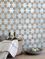 Cadiz, a natural stone waterjet mosaic shown in Ming Green polished and Jura Grey honed, is part of the Miraflores Collection by Paul Schatz for New Ravenna Mosaics.