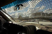 Nogales, Arizona.USA.October 25, 2006..Inside a US border patrol vehicle that is covered in metal grates to protect them from stones being thrown by Mexicans from the other side of the border fence. Stoning incidents occur daily..