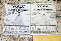 India, Rishikesh.  Advertisement for Yoga Lessons.