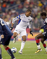 Kansas City Wizards forward Teal Bunbury (9) footwork in attacking zone as New England Revolution defender Emmanuel Osei (5) defends. The New England Revolution defeated Kansas City Wizards, 1-0, at Gillette Stadium on October 16, 2010.