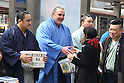 (L to R) Aminishiki, Baruto, Harumafuji, MARCH 24, 2011 - Sumo collecting money for the victims of the 2011 Tohoku-Kanto Earthquake and Tsunami Natural Disaster in front of shibuya station, Tokyo, Japan. (Photo by YUTAKA/AFLO SPORT) [1040]..