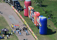 Apr. 28, 2012; Baytown, TX, USA: Aerial view of NHRA top fuel dragster drivers T.J. Zizzo (left) and J.R. Todd on the return road during qualifying for the Spring Nationals at Royal Purple Raceway. Mandatory Credit: Mark J. Rebilas-