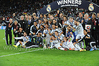 Cardiff City Stadium, Cardiff, South Wales - Tuesday 12th Aug 2014 - UEFA Super Cup Final - Real Madrid v Sevilla - <br /> <br /> The victorious Real Madrid team celebrate on winning the UEFA Super Cup 2014. <br /> <br /> <br /> <br /> <br /> Photo by Jeff Thomas/Jeff Thomas Photography