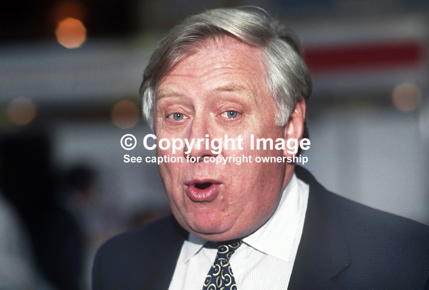 Roy Hattersley, MP, Labour Party, UK, 1990101010.<br /> <br /> Copyright Image from Victor Patterson, 54 Dorchester Park, Belfast, UK, BT9 6RJ<br /> <br /> t1: +44 28 9066 1296 (from Rep of Ireland 048 9066 1296)<br /> t2: +44 28 9002 2446 (from Rep of Ireland 048 9002 2446)<br /> m: +44 7802 353836<br /> <br /> e1: victorpatterson@me.com<br /> e2: victorpatterson@gmail.com<br /> <br /> The use of any of my copyright images is subject to my Terms &amp; Conditions.<br /> <br /> It is IMPORTANT that you familiarise yourself with them. They are available on my website, victorpatterson.com.<br /> <br /> None of my copyright images may be used on the Internet unless they are visibly watermarked, i.e. &copy; Victor Patterson within the body of the image. Metadata denoting my copyright must NOT be deleted. <br /> <br /> Web use is extra at currently recommended NUJ rates.