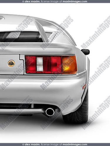 Silver 1997 Lotus Esprit V8 sports car back rear view isolated on white background with clipping path
