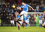 Hearts v St Johnstone&hellip;05.11.16  Tynecastle   SPFL<br />Chris Kane gets above Perry Kitchen<br />Picture by Graeme Hart.<br />Copyright Perthshire Picture Agency<br />Tel: 01738 623350  Mobile: 07990 594431