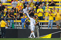 24 OCTOBER 2010:  Columbus Crew goalkeeper William Hesmer (1) waves to the crowd as he is helped off the pitch after being injured during MLS soccer game against the Philadelphia Union at Crew Stadium in Columbus, Ohio on August 28, 2010.