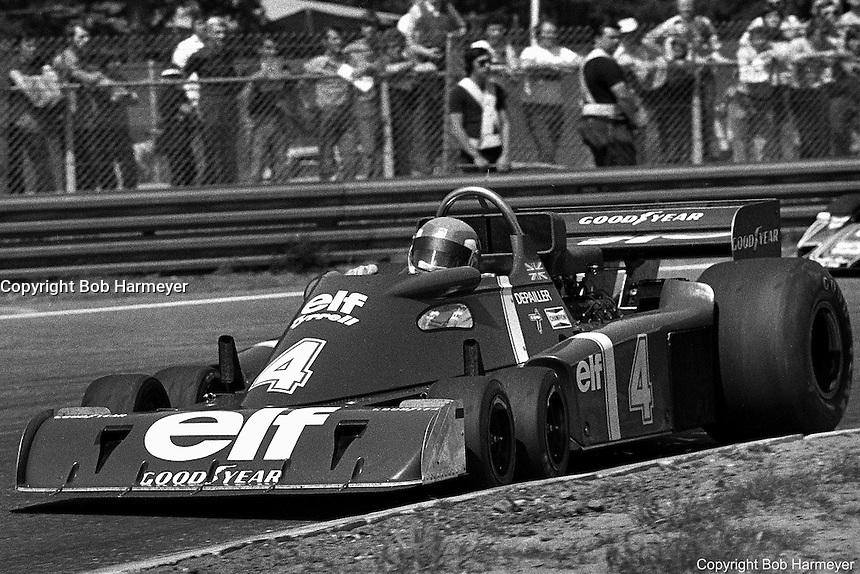 Patrick Depailler drives the Tyrrell P34 six-wheel Formula 1 car during the 1976 Grand Prix of Belgium at Zolder.