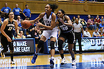 07 January 2016: Wake Forest's Milan Quinn (right) tries to knock the ball away from Duke's Azura Stevens (center) as Jill Brunori (left) watches. The Duke University Blue Devils hosted the Wake Forest University Demon Deacons at Cameron Indoor Stadium in Durham, North Carolina in a 2015-16 NCAA Division I Women's Basketball game. Duke won the game 95-68.