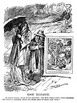 """Good Riddance. Mr Punch (to Summer). """"Glad to say good-bye. The most dismal visit I ever remember. See what a charming group we were able to make last year!"""" (Mr Punch shows Summer a copy of a happy Punch cartoon from the previous year)"""
