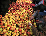 The farmers market selling apples at the Civic Center on the outskirts of Tenderloin district of San Francisco, California.