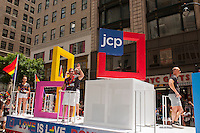 JC Penney float in the 43rd annual Lesbian, Gay, Bisexual and Transgender Pride Parade on Fifth Avenue in New York on Sunday, June 24, 2012. The parade took place on the one year anniversary of the legalization of gay marriage in New York.  (© Richard B. Levine)