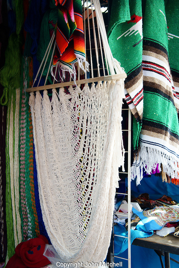 White mexican hammock, Mercado 28 souvenirs and handicrafts market in  Cancun, Mexico      .