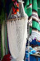 White mexican hammock, Mercado 28 souvenirs and handicrafts market in  Cancun, Mexico      .