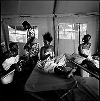 Luanda, Angola, May 19, 2006.Maria, Rosa, Gisa and Conceiçao are patients at the Boa Vista MSF Belgium operated cholera field clinic. Between February and June 2006, more than 30000 people were infected with cholera in Angola's worse outbreak ever; more than 1300 died.