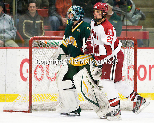 Paul Karpowich (Clarkson - 33), Marshall Everson (Harvard - 21) - The Harvard University Crimson defeated the visiting Clarkson University Golden Knights 3-2 on Harvard's senior night on Saturday, February 25, 2012, at Bright Hockey Center in Cambridge, Massachusetts.