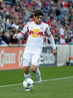 New York midfielder Juninho (8) brings the ball down the sideline.  The Chicago Fire defeated the New York Red Bulls 3-1 at Toyota Park in Bridgeview, IL on April 7, 2013.