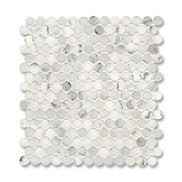 2 cm Pennyrounds shown in Calacatta Radiance (available in polished or honed finish) is part of New Ravenna's Studio Line. All mosaics in this collection are ready to ship within 48 hours.<br />