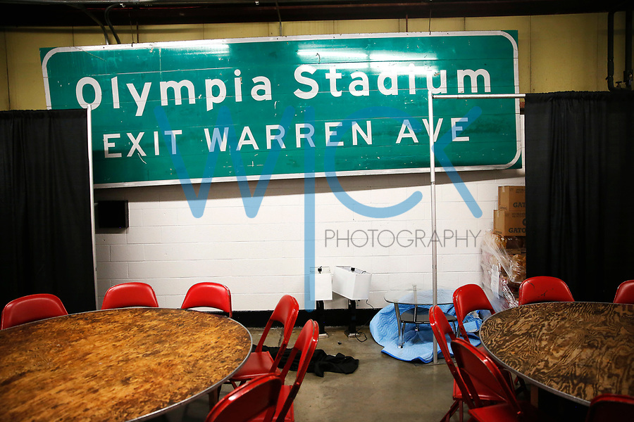 A sign for the old Olympia Stadium sits in the hallway at Joe Louis Arena in Detroit, Michigan on Saturday April 8, 2017. (Photo by Jared Wickerham/The Players Tribune)