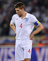 A dejected Steven Gerrard of England. USA tied England 1-1 in the 2010 FIFA World Cup at Royal Bafokeng Stadium in Rustenburg, South Africa on June 12, 2010.