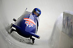 15 December 2007: Great Britain 1 pilot Nicola Minichiello, with Lauren Therin on the brakes, exit turn 19 during their first run of the FIBT World Cup Bobsled Competition at the Olympic Sports Complex on Mount Van Hoevenberg, at Lake Placid, New York, USA. ..Mandatory Photo Credit: Ed Wolfstein Photo
