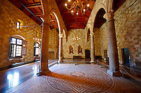 Interior rooms with hellanistic mosaic floors of the 14th century medieval palace of the Grand Master of the Kinights of St John, Rhodes, Greece. UNESCO World Heritage Site
