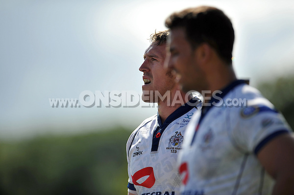 Ben Skirving looks on during a break in play. Pre-season friendly match, between Bristol Rugby and Newport Gwent Dragons on August 17, 2014 at the Cribbs Causeway Ground in Bristol, England. Photo by: Patrick Khachfe / JMP