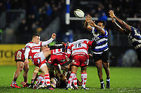 Ben Vellacott of Gloucester Rugby box-kicks the ball. Anglo-Welsh Cup match, between Bath Rugby and Gloucester Rugby on January 27, 2017 at the Recreation Ground in Bath, England. Photo by: Patrick Khachfe / Onside Images