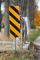 Caution Sign at Narrow Bridge on Rural Road