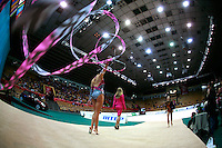"""Julie Zetlin of USA walks to carpet with ribbon streaming behind at 2008 World Cup Kiev, """"Deriugina Cup"""" in Kiev, Ukraine on March 22, 2008."""