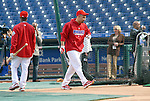 10/17/08 2:11:02 PM -- Philadelphia, PA, U.S.A. -- Philadelphia Phillies Shane Victorino (R) walks past Phillies Jimmy Rollins (L) as he steps into the batting cage during practice October 17, 2008 at Citizen's Bank Park in Philadelphia, Pennsylvania. Victorino showed the team that cast him aside that it made a costly error. The Philadelphia outfielder, who spent six years in the L.A. Dodgers' farm system, used key hits in pressure situations, including a triple, Game 4 eighth-inning homer and six RBI during the NLCS, to help the Phillies beat the Dodgers and reach their first World Series since 1993. -- ...Photo by William Thomas Cain/cainimages.com.