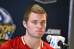 09 December 2012: Indiana's Eriq Zavaleta during the postgame press conference. The Georgetown University Hoyas played the Indiana University Hoosiers at Regions Park Stadium in Hoover, Alabama in the 2012 NCAA Division I Men's Soccer College Cup Final. Indiana won the game 1-0.