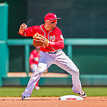 24 May 2015: Washington Nationals infielder Danny Espinosa makes a double-play throw to end the first inning against the Philadelphia Phillies at Nationals Park in Washington, DC. The Nationals defeated the Phillies 4-1 to take the rubber game of their 3-game weekend series. Mandatory Credit: Ed Wolfstein Photo *** RAW (NEF) Image File Available ***