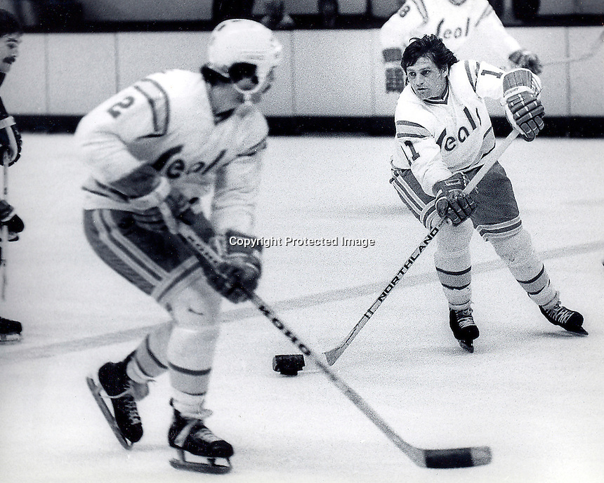 Seals hockey action, Rich Hampton and Spike Huston..photo/Ron Riesterer