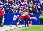 9 November 2014: Buffalo Bills running back Bryce Brown takes a swing pass for a 12-yard gain before being forced out of bounds by Kansas City Chiefs inside linebacker James-Michael Johnson in the fourth quarter at Ralph Wilson Stadium in Orchard Park, NY. The Chiefs rallied with two fourth quarter touchdowns to defeat the Bills 17-13. Mandatory Credit: Ed Wolfstein Photo *** RAW (NEF) Image File Available ***