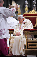 Pope Benedict XVI  leads the Chrismal mass in the morning of Holy Thursday at St Peter's basilica at The Vatican.on April 5, 2012