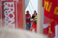 Michael Wamen , du Syndicat Goodyear siul palco durante la manifestazione manifestation pour le travail