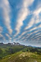 Cloud patterns over the Chugach National Forest, Lost Lake Trail, Kenai Peninsula, southcentral, Alaska.