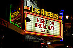 Neon sign marquee for the Los Angeles Theater on Broadway in downtown Los Angeles