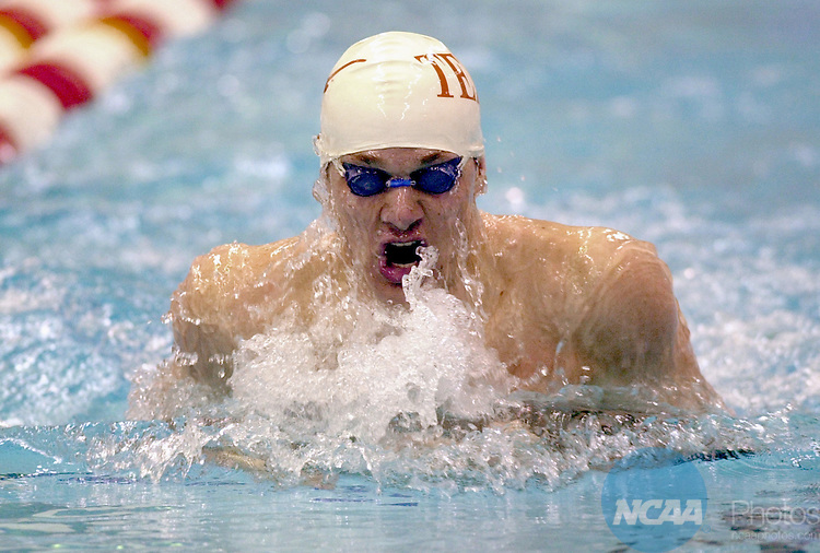 30 MAR 2002  University of Texas swimmer Brendan Hansen competes in the 200 yard breaststroke during  Division 1 Men's Swimming and Diving Championships held in the Gabrielsen Natatorium on the University of Georgia campus in Athens, Ga.  Hansen beat Machel Bruce of Stanford University with a NCAA record time of 1:52.88.  Erik S. Lesser/NCAA Photos